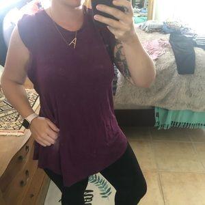 Ruffled Sleeve Luxe Swing Shirt, burgundy, Large